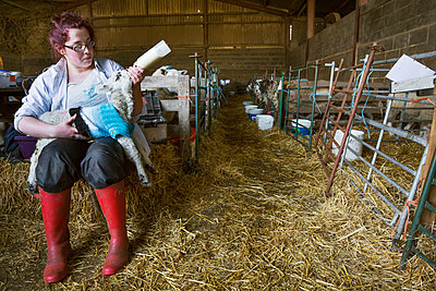 Young woman sitting in a barn, feeding a newborn lamb with milk from a bottle. Lamb dressed in a knitted blue jumper. - p1100m1450946 by Mint Images