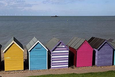 Bright beach huts - p1063m1134990 by Ekaterina Vasilyeva