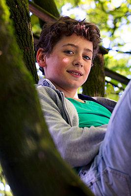 Junge im Baum - p1212m1440568 von harry + lidy