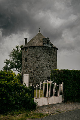 Old windmill in Brittany - p470m2128908 by Ingrid Michel