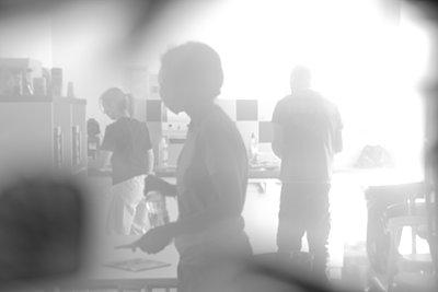 Silhouettes in a Kitchen - p1307m2215142 by Agnès Deschamps