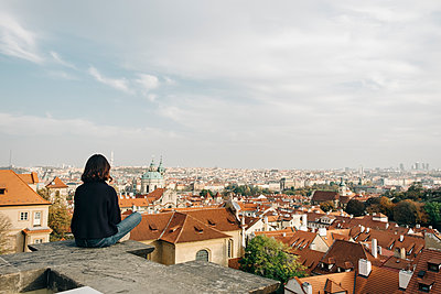 A panoramic view of Prague, Czech Republic, from the top of a hill - p1423m2101106 by JUAN MOYANO