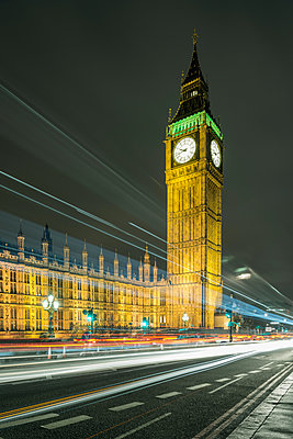 Traffic light trails and Big Ben at night, London, UK - p429m1135438f by Mischa Keijser
