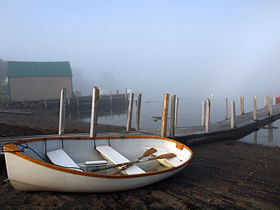 Fog rolling in Tancook Harbour - p1072m828958 by Clive Branson