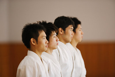 Members of a Judo Dojo Lined Up - p3070548f by Score. by Aflo