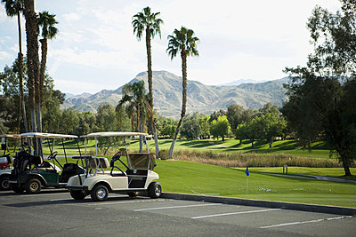 Golf carts parked at a golf club, Palm Springs, California, USA - p30118523f by Patrick Strattner