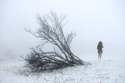Frau im Nebel - p470m1059315 von Ingrid Michel