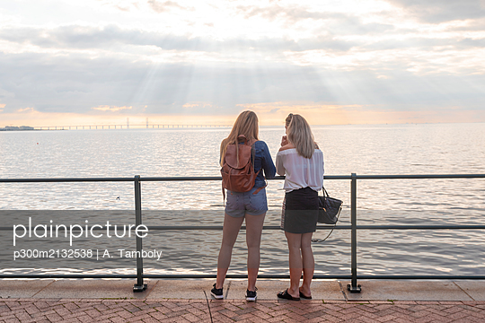Rear view of friends standing at Oresund bridge by sea against cloudy sky - p300m2132538 by A. Tamboly