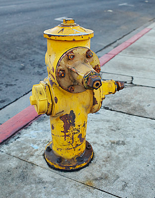 Yellow rusty fire hydrant, USA - p312m894668f by Johner
