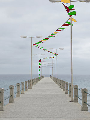Concrete sea pier and flags - p1280m2100902 by Dave Wall