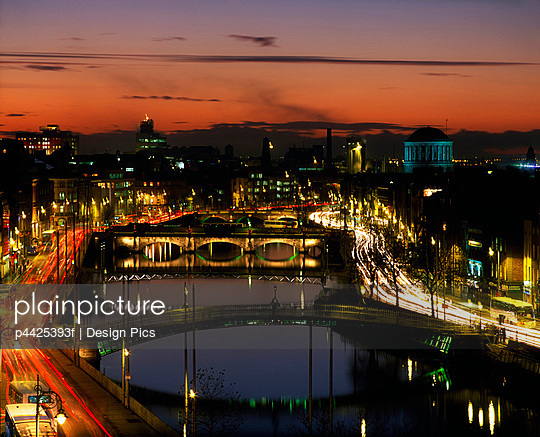River Liffey, Dublin, County Dublin, Ireland, Four Courts in the distance - p4425393f by Design Pics