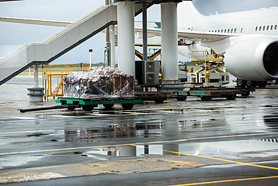 Airport vehicle transporting luggage to airplane - p1315m1230653 by Wavebreak