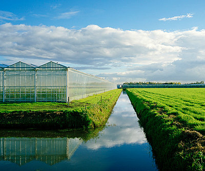 Greenhouses and irrigated river in field - p42918749 by Mischa Keijser