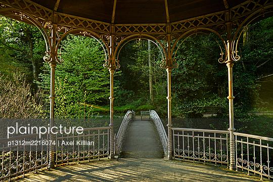 Deserted pavillion and a small bridge - p1312m2216074 by Axel Killian