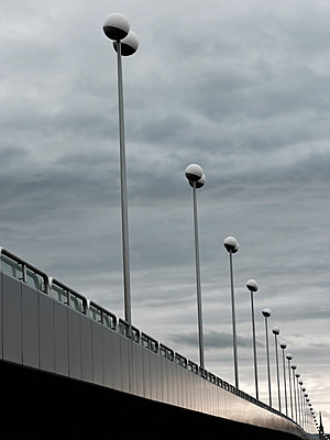 Street lamps on a bridge - p1383m2100702 by Wolfgang Steiner