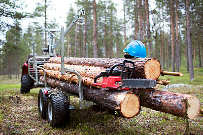 Chainsaw and helmet on logs - p312m1495551 by Fredrik Ludvigsson