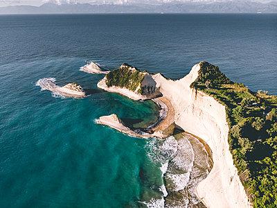 Rock formation, steep coast, Corfu - p1326m2160889 by kemai
