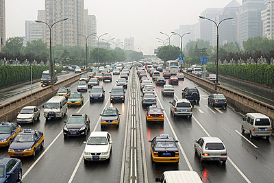 Traffic on beijing road - p9246051f by Image Source