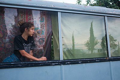 Girl on Trolley - p1503m2015850 by Deb Schwedhelm