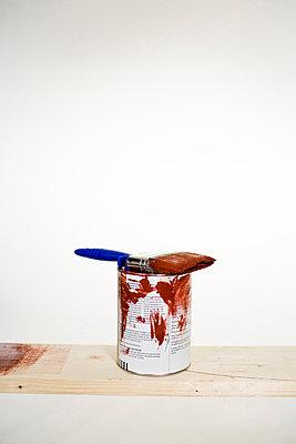 Paintbrush red paint and a paint bottle - p31222792f by Plattform
