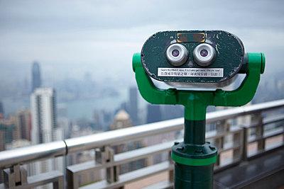 Coin operated binoculars, the peak, hong kong, china - p924m699214f by Ryan Benyi Photography