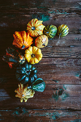 Various Ornamental pumpkins on wood - p300m1581418 von Giorgio Fochesato
