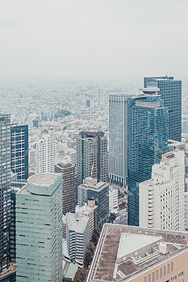 Aerial view highrise buildings and cityscape, Tokyo, Japan - p301m2272012 by Pep Karsten