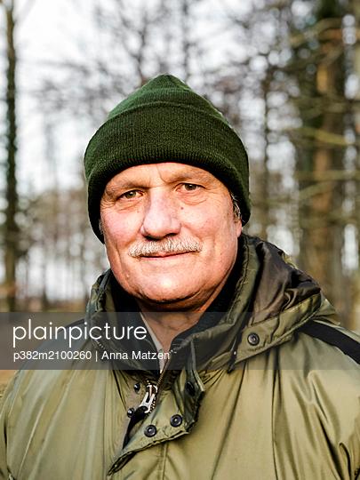 Portrait in the forest - p382m2100260 by Anna Matzen