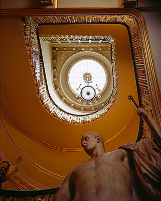 Apsley House. View looking up stairwell with Canova's statue of Napoleon in the foreground. - p8551681 by Nigel Corrie