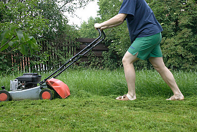 Man with lawn mower - p1450360 by Werner Kaiser