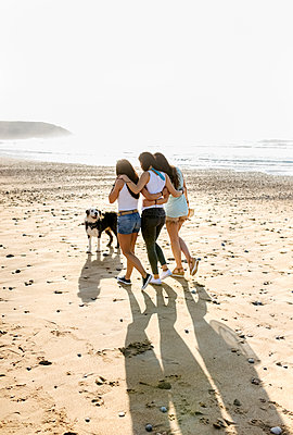 Three women with dog walking on the beach - p300m2114751 by Marco Govel