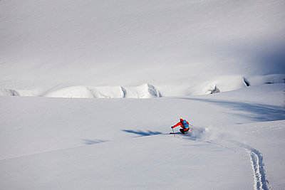 View of person skiing - p312m765710f by Per Eriksson