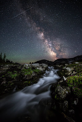 A small waterfall and the Milky Way - p1424m1501245 by Brad Goldpaint