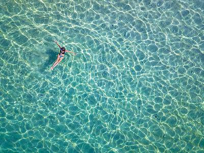 Indonesia, Bali, Melasti, Aerial view of Karma Kandara beach - p300m2042550 by Konstantin Trubavin