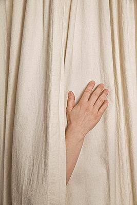 Hand zwischen Vorhängen - p3971141 von Peter Glass
