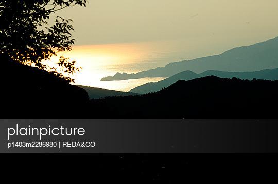 Passo del Biscia pass, view of the Golfo del Tigullio gulf at sunset, Val Graveglia valley, near Lavagna. Liguria. Italy, Europe - p1403m2286980 by REDA&CO