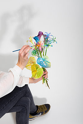 Painted flower bouquet - p801m2258882 by Robert Pola