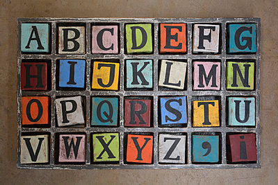 wooden dices with letters - p876m1146826 by ganguin