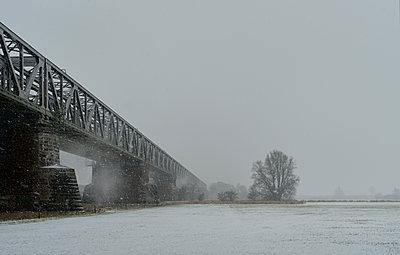 Old railway bridge running over floodlands of river Maas on snowy day, Hedel, Gelderland, Netherlands - p429m2074933 by Mischa Keijser