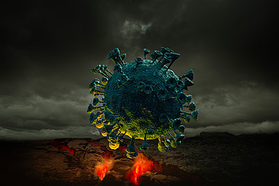 Digitally generated image ofÊCoronavirus - p1427m2174082 by Chris Clor