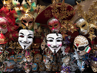 Venetian masks on display, Venice, Italy - p301m2123072 by Dejan