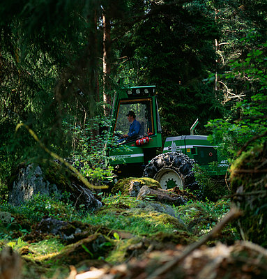 Mid adult man driving crane amid trees - p5752120f by Stefan Ortenblad