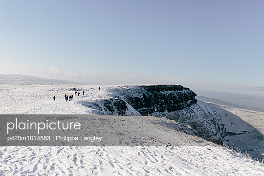 Hikers in distance, Llyn y Fan Fach, Brecon Beacons, Wales - p429m1014583 by Philippa Langley