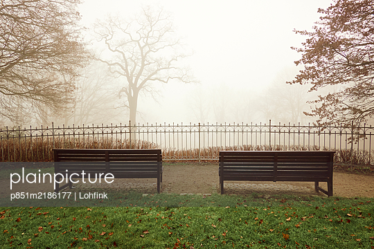 Two benches in the fog, Fischers Park, Hamburg - p851m2186177 by Lohfink