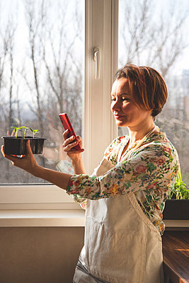 A girl takes pictures on a smartphone of plants, for her blog, which she has grown in her home garden - p1166m2269232 by Cavan Images