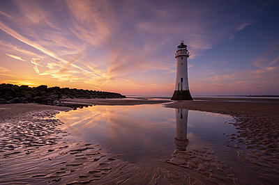 Perch Rock lighthouse with dramatic sky, New Brighton, Merseyside, The Wirral, England, United Kingdom - p871m2114063 by Ed Rhodes
