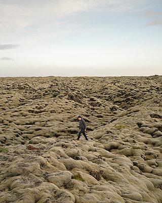Mann spaziert in Mooslandschaft - p1124m1060335 von Willing-Holtz