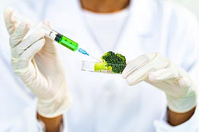 Researcher injecting liquid in broccoli while working at laboratory - p300m2265585 by Giorgio Fochesato