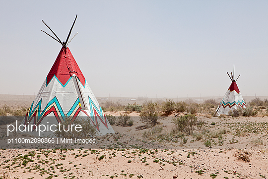 Native American Tipi Replicas - p1100m2090866 by Mint Images