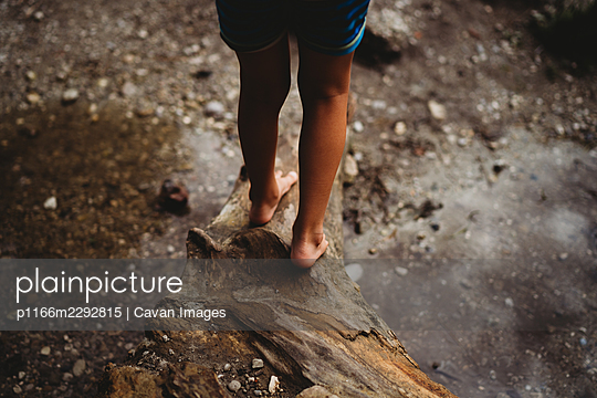 Back view of feet standing on log outside by the water in summer - p1166m2292815 by Cavan Images